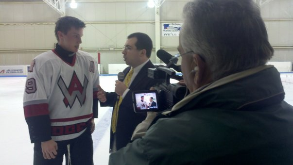 "Mike Mangan and I with West Allegheny forward Jon Levitt on ""Trib Total Media Hockey Night"""